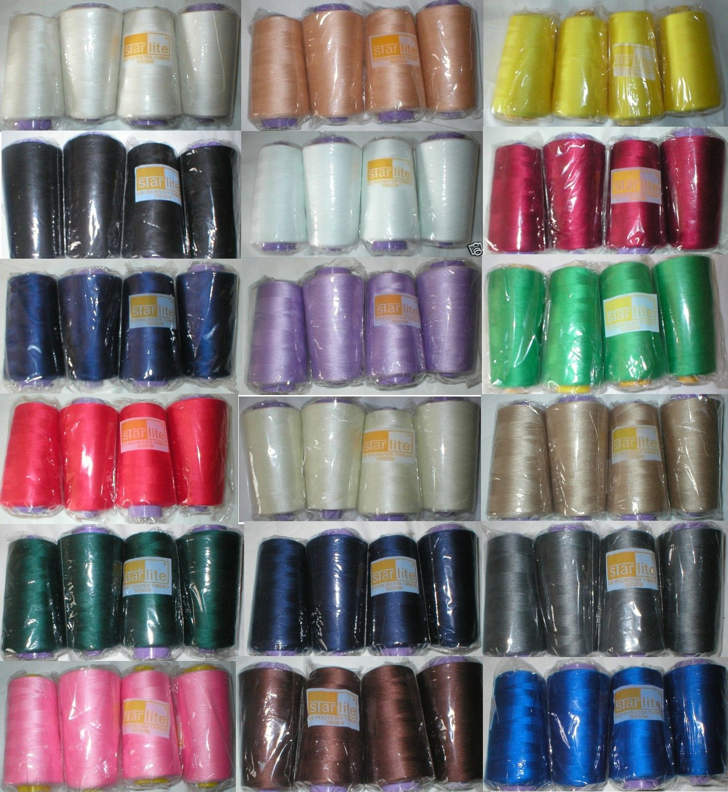 Overlocker & Sewing Machine Thread Polyester 5000mtr x 4 Top Quality Choice of Colours BLB05x4