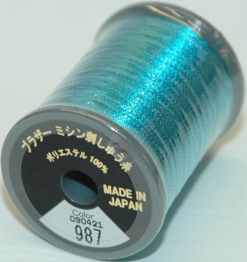 Brother Embroidery Machine Thread Metallic Polyester - Light Blue