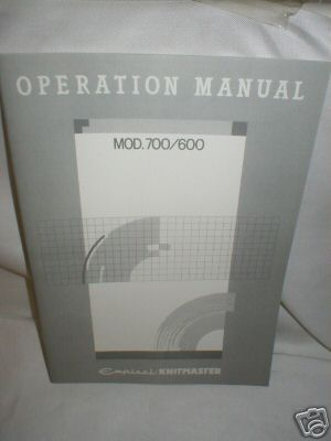 Operation Manual-Knitmaster SK700/600  Knitting Machine K521